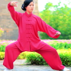 Professional Taichi Kungfu Uniform with Pants - Cotton/Silk - Fuchsia (RM)