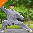 Professional Taichi Kungfu Uniform with Pants - Cotton/Silk - Grey (RM)