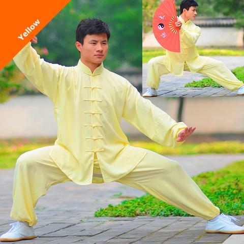 Professional Taichi Kungfu Uniform with Pants - Cotton/Silk - Yellow (RM)