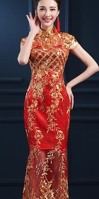 Cup-sleeve Long-length Prom Cheongsam (RM/CM)