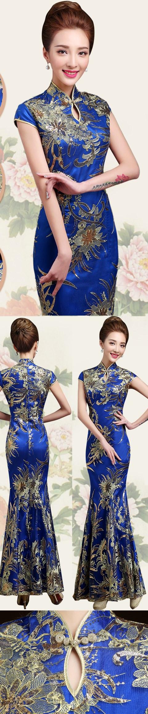 Cup-sleeve Long-length Prom Cheongsam - Dk Blue (RM)
