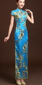 Cup-sleeve Long-length Prom Cheongsam - Blue (RM)