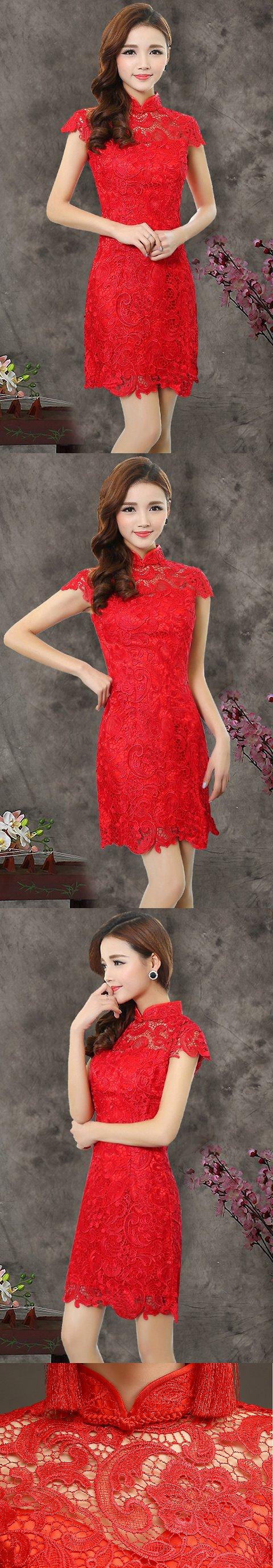 Cup-sleeve Short-length Prom Cheongsam (RM)