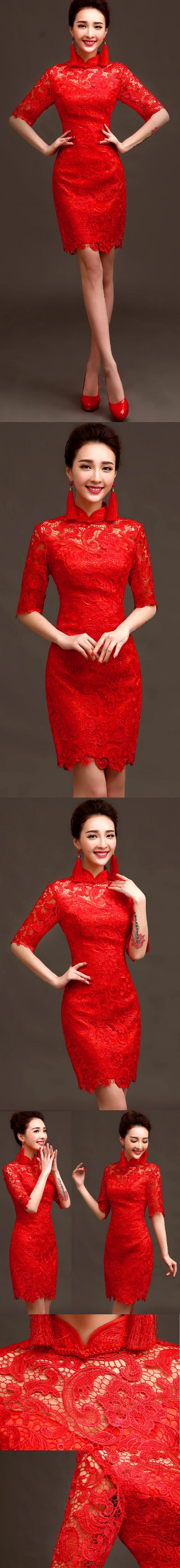 Elbow-sleeve Short-length Prom Cheongsam (RM)
