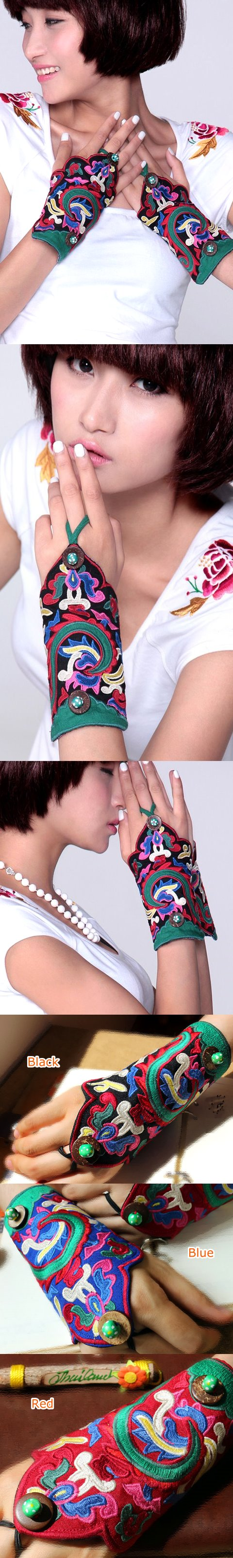 Versatile Ethnic Embroidery Mitt Gloves - (Multi-color)