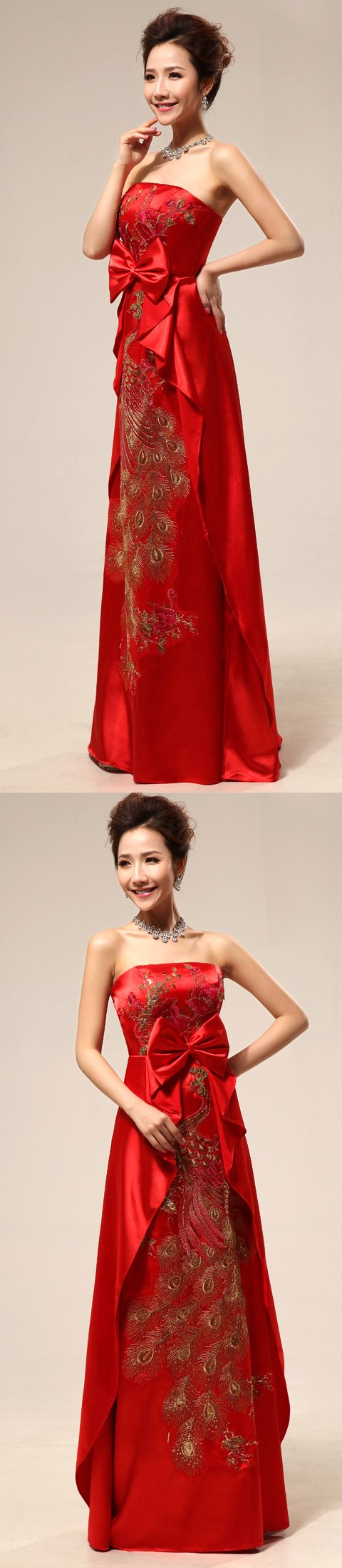 Bare-shoulders Long Prom Dress (RM)