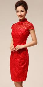 碗袖短身新娘旗袍(成衣)