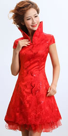 Cup-sleeve Short-length Embroidery Bridal Cheongsam (RM)
