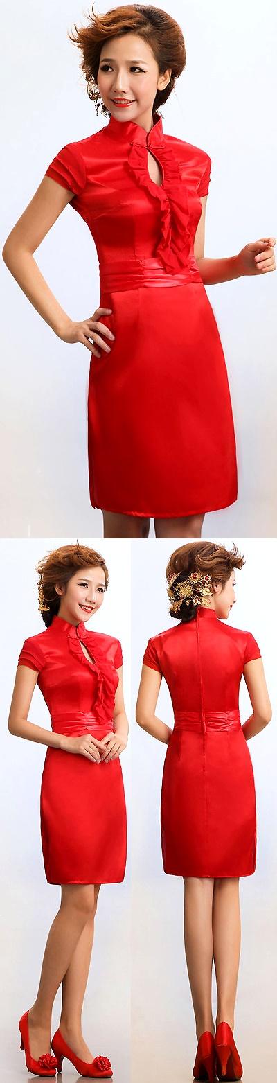 Cuff-sleeve Short-length Bridal Cheongsam (RM)