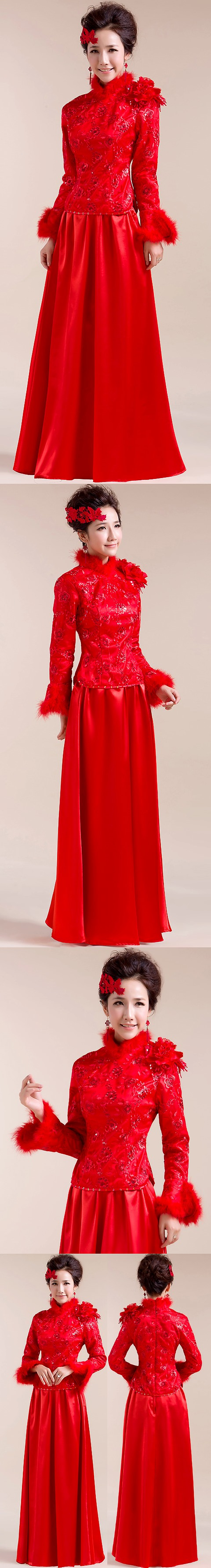 Long-sleeve Long-length Bridal Cheongsam (RM)