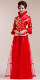 七分袖長身新娘旗袍(成衣)