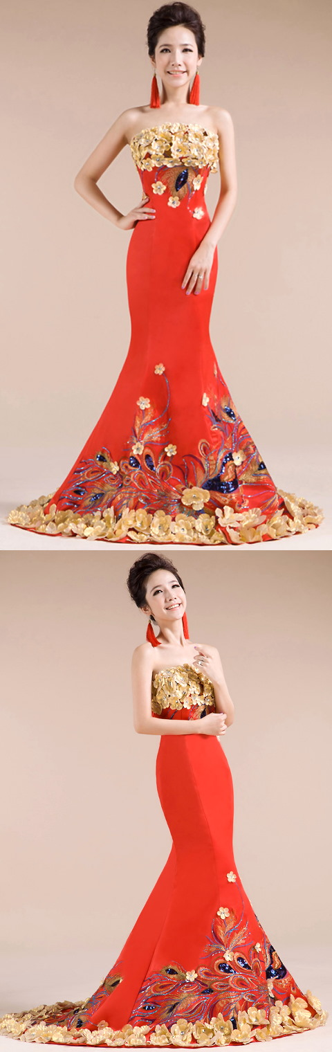 Bare-shoulders 3D Flower Prom Dress (RM)