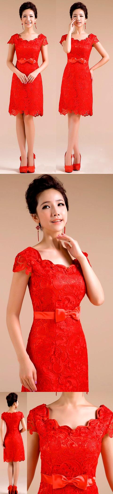 Cup-sleeve Short-length Embroidery Gauze Bridal Cheongsam (RM)