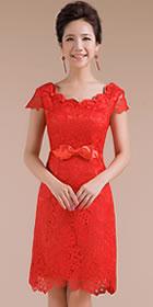 碗袖短身鏤空花紋新娘旗袍(成衣)