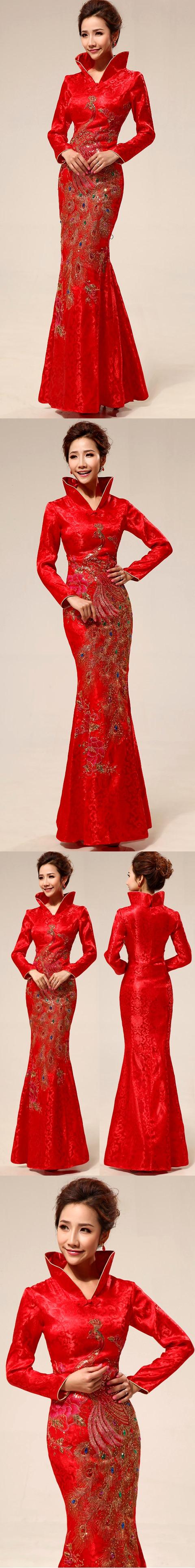 Long-sleeve Long Bridal Cheongsam (RM)