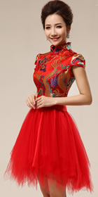 Puff-sleeve Short-length Dragon Embroidery Bridal Cheongsam (RM)