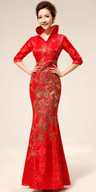 Elbow-sleeve Long Bridal Cheongsam (RM)