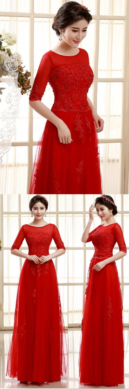 Elbow-sleeve Long-length Prom Dress (RM)