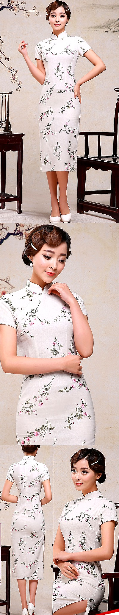 Long-length Linen Printing Cheongsam Dress (RM)