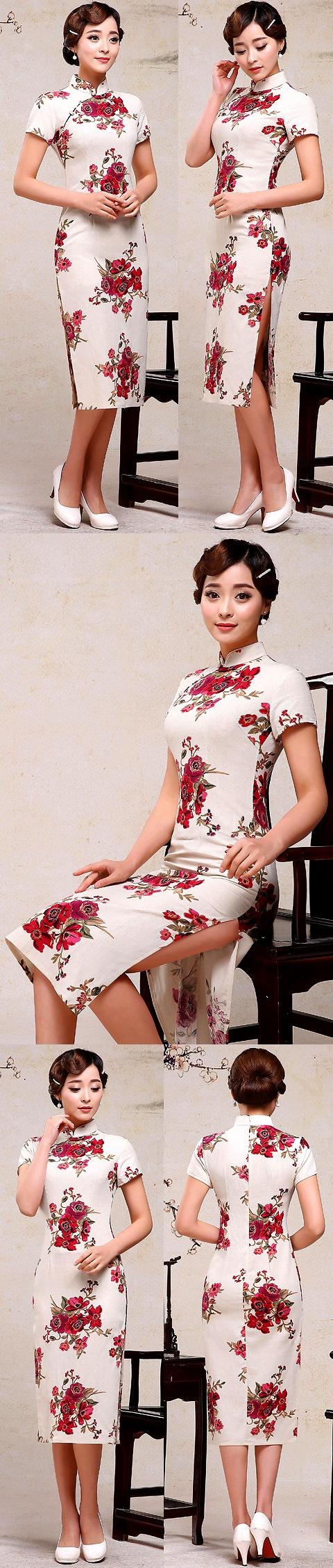 Long-length Linen Printing Cheongsam Dress (RM)