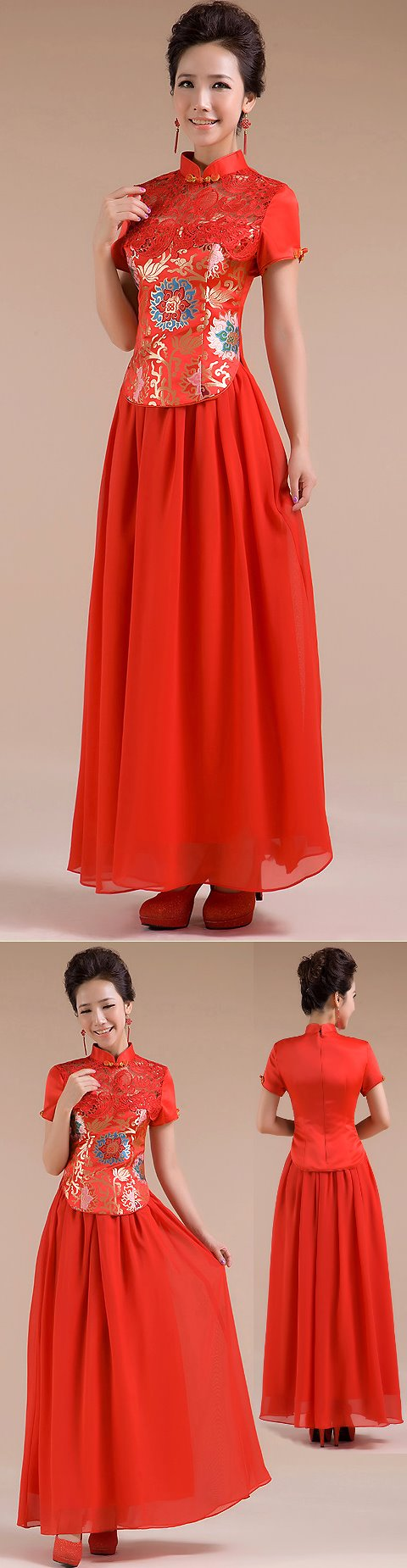 Short-sleeve Long-length Bridal Cheongsam (RM)