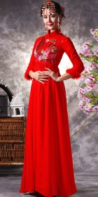 3/4-sleeve Long-length Bridal Cheongsam (RM)
