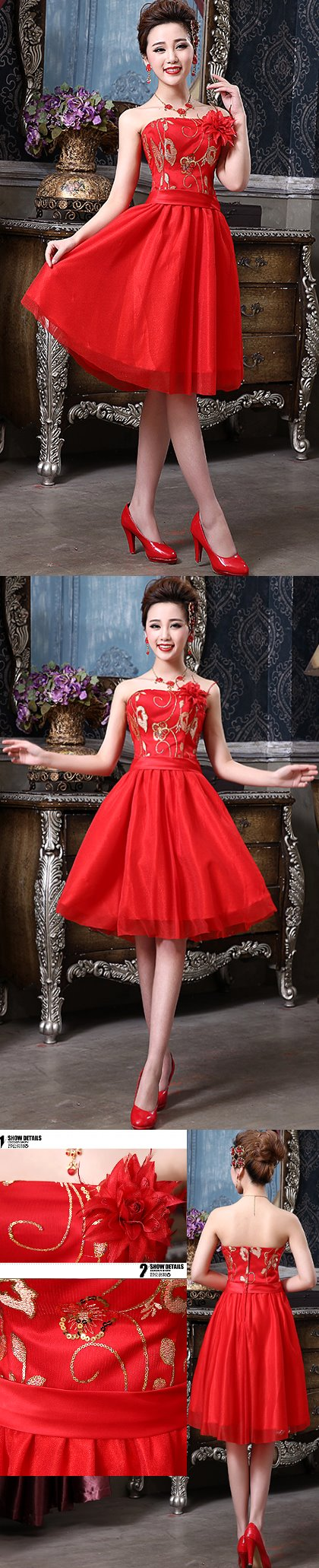 Bare-shoulders Short-length Bridal Cheongsam (RM)