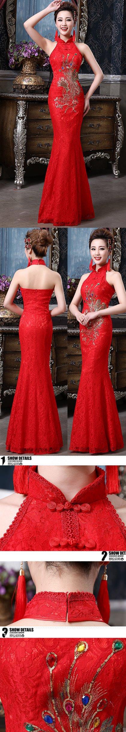 Cut-in Shoulders Bareback Long-length Bridal Cheongsam (RM)