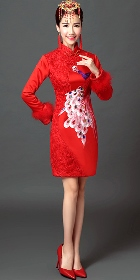 Long-sleeve Long-length Prom/Bridal Cheongsam (RM)