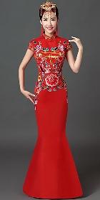 長身華麗刺繡旗袍(成衣)