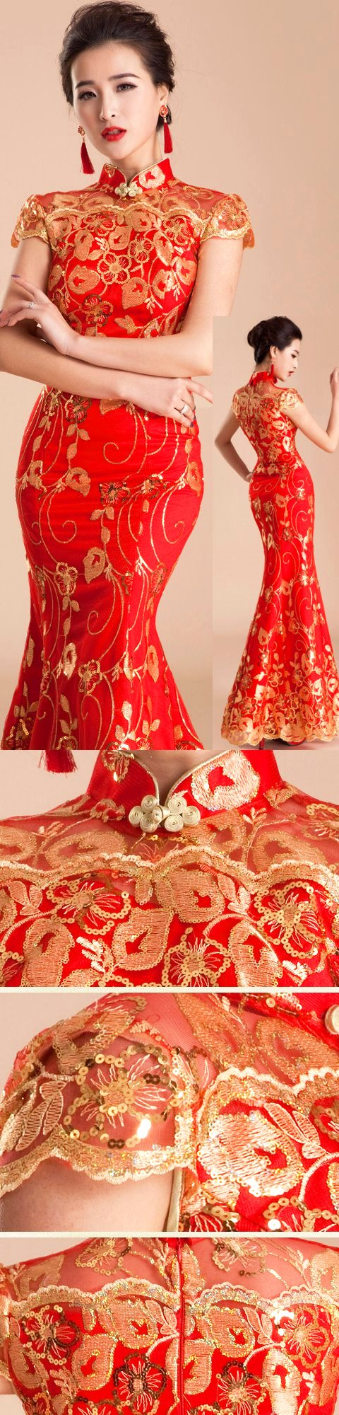Cup-sleeve Long-length Bridal Cheongsam (CM)
