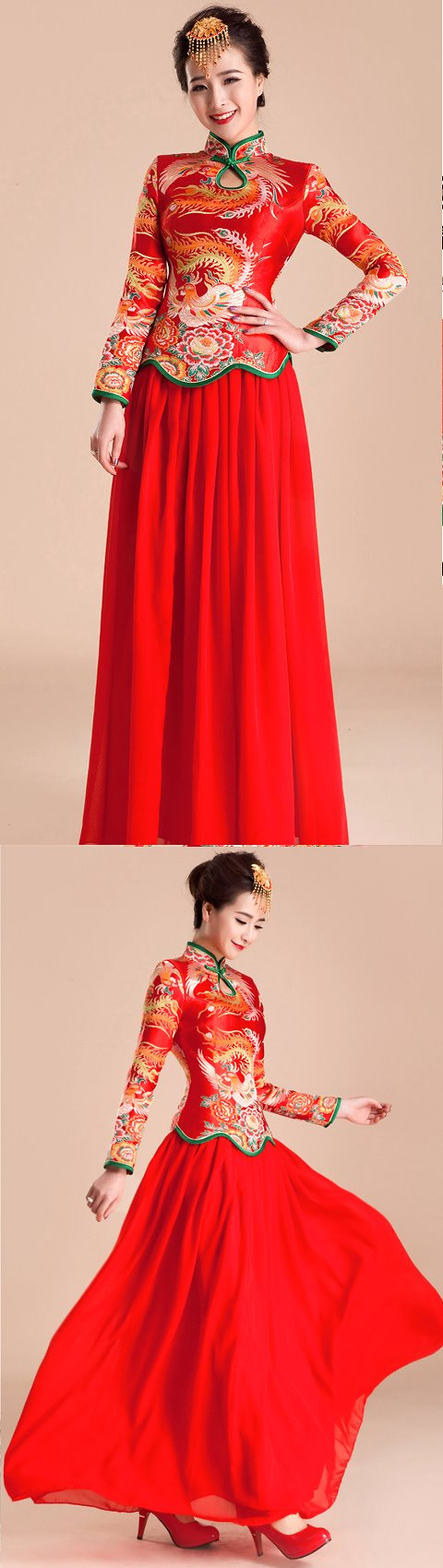 Long-sleeve Long-length Prom Cheongsam (RM)