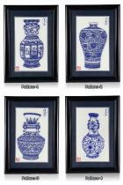 手工青花瓷花瓶剪紙連畫框