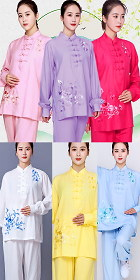 Long-sleeve Embroidery Linen Taichi Kungfu Uniform (RM)
