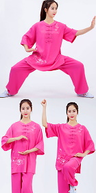 Mid-sleeve Embroidery Linen Taichi Kungfu Uniform (RM)