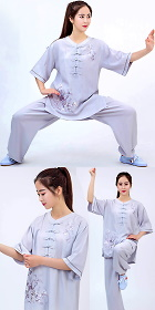 Mid-sleeve Embroidery Linen Taichi Kungfu Uniform (RM)