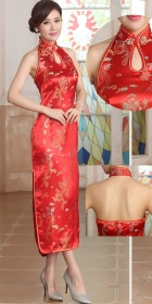 Bargain - Cut-in Shoulders Bareback Brocade Cheongsam (RM)