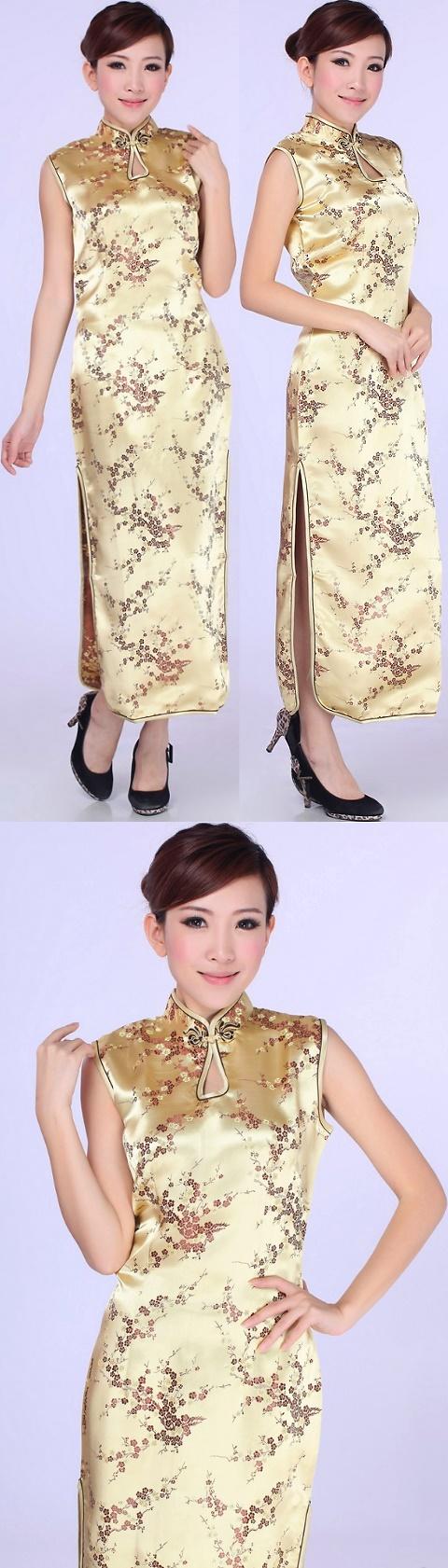 無袖長身織錦緞旗袍 (成衣)