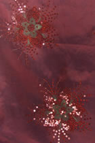Fabric - Floral Embroidery Chameleon Thai Silk with Paillettes