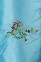 Fabric - Floral Embroidery Chameleon Thai Silk w/ Paillettes