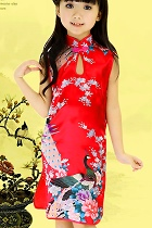 Bargain - Girl's Sleeveless Floral Cheongsam Dress (Red)