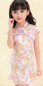 Girl's Cup-sleeve Floral Cheongsam Dress (RM)