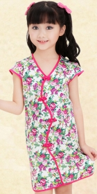Girl's Short-sleeve Floral Cheongsam Dress (RM)