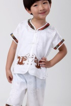 Boy's Short-sleeve Double-dragon Mandarin Suit (RM)