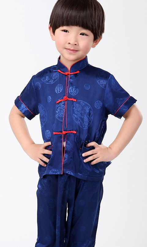 Bargain - Boy's Short-sleeve Jacquard Mandarin Suit (RM)