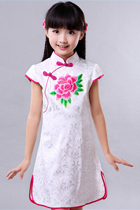 Girl's Cup-sleeveless Embroidery Cheongsam (RM)