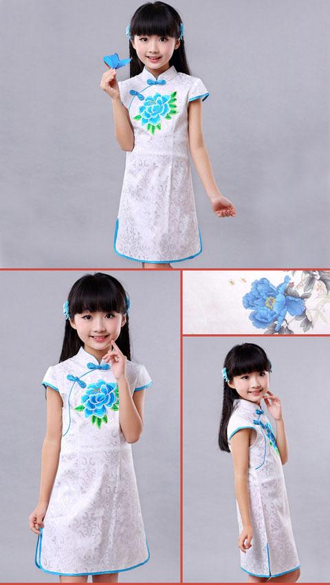 Girl's Cup-sleeveless Embroidery Cheongsam (RM)