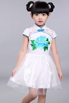 Girl's Cup-sleeveless Prom Cheongsam (White)