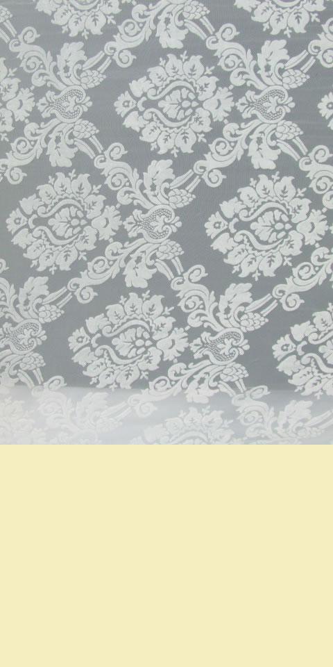 面料 - 透視繡花燒花絨網紗(白色)