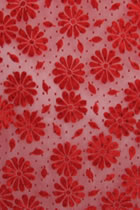 Fabric - See-through Embroidery Velvet Gauze (Red)